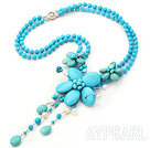 Wholesale New Style Blue Series White Pearl and Blue Turquoise Flower Necklace