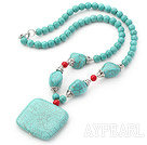 Assorted Turquoise and Red Coral Necklace with Square Turquoise Pendant