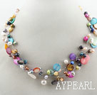 Assorted Multi Color Freshwater Pearl and Shell Necklace
