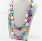 Wholesale Assorted Flat Round Multi Color Shell Long Style Necklace