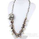 Wholesale Large Style Gray Crystal and Gray Agate Flower Party Necklace