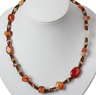 Single Strand Natural Color Agate and Crystal Necklace