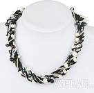 Long Style Multi Strands Black and White Freshwater Pearl Necklace