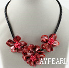 Three Pieces of Red Pearl Shell Flower Necklace