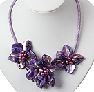 Tre Pieces of Purple Pearl Shell Flower halskjede