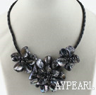 Wholesale Three Pieces of Black Pearl Shell Flower Necklace