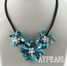 Three Pieces of Blue Pearl Shell Flower Necklace