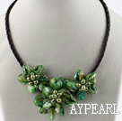 Three Pieces of Green Pearl Shell Flower Necklace