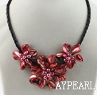 Wholesale Three Pieces of Red Shell Pearl Flower Necklace