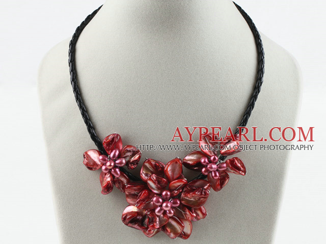 Three Pieces of Red Shell Pearl Flower Necklace