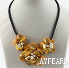 Wholesale Three Pieces of Orange Pearl Shell Flower Necklace