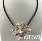 Wholesale Single Piece Gray Pearl Shell Flower Necklace