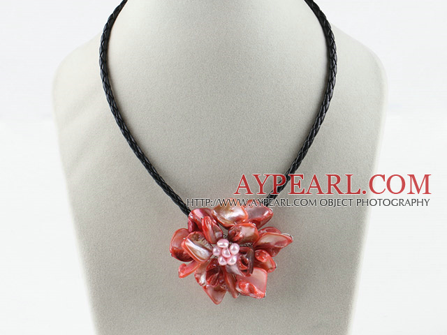 Single Piece Red Pearl Shell Blume Halskette