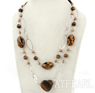 Wholesale brown pearl and tiger eye necklace with metal chain