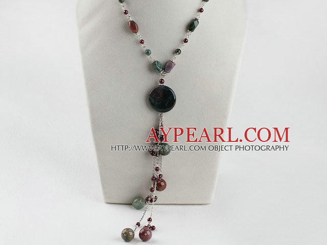 Y shape granet and indian agate necklace