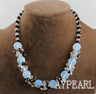 opal and white black color crystal necklace