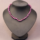 Simple Trendy Style Natural Deep Purple Potato Pearl Necklace