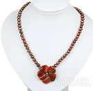 Wholesale brown pearl agate flower necklace with lobster clasp