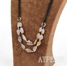 Wholesale elegant agate necklace with black metal chain