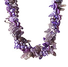 Wholesale Popular Nice Twisted Purple Pearl Shell Amethyst and Manmade Crystal Necklace with Moonight Clasp