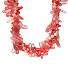 Wholesale Popular Nice Twisted Pink Pearl Crystal and Cherry Quartz Necklace with Moonight Clasp
