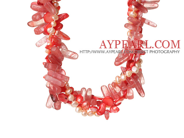 Popular Nice Twisted Pink Pearl Crystal and Cherry Quartz Necklace with Moonight Clasp