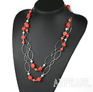 Wholesale red coral white pearl necklace with metal loop