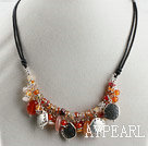 agate and sun charm beaded necklace with extendable chain