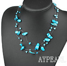 Lovely Multi Strand Fantastic Blue Blister Pearl Wired Necklace With Lobster Clasp