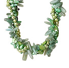 Popular Nice Twisted Green Pearl Shell Aventurine and Manmade Faceted Crystal Necklace