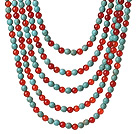 Single Strand Golden Color Cylinder Shape Grass Coral Necklace