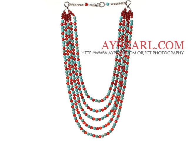 New Gorgeous Five Strands Round Carnelian and Blue Turquoise Beaded Necklace