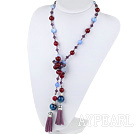 39.4 inches crystal and burst pattern agate necklace