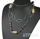 Wholesale fashion 39.4 inches pearl crystal and colored glaze necklace