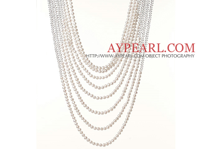 New Gorgeous Multi Layer Round White Pearl and Manmade Crystal Beads Party Necklace