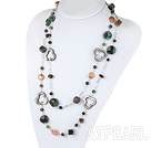Wholesale fashion long style pearl crystal and indian agate necklace