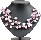 Trendy Style Multi Strand Pink Purple Seashell Beads Twisted Necklace With Bending Alloyed Tube