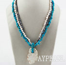 Wholesale Multi Strand White and Black Freshwater Pearl and Blue Turquoise Necklace