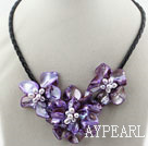 Discount pearl and dyed purple shell flower necklace with magnetic clasp