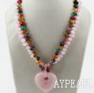 Wholesale Two Strands Rose Quartz and Multi Color Quartz Necklace with Heart Shape Pendant