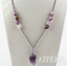 Wholesale Simple Style Amethyst Necklace with Metal Chain and Lobster Clasp