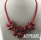 Wholesale pearl and dyed red shell flower necklace with magnetic clasp