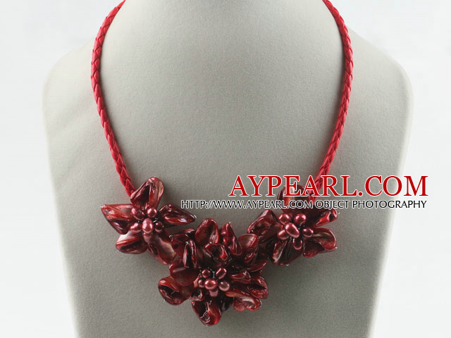 pearl and dyed red shell flower necklace with magnetic clasp