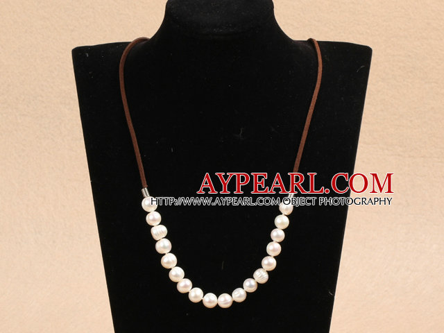 Simple Design White Screw Freshwater Pearl Necklace with Brown Cord