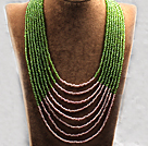 Multi Strands Multi Layered 4-5mm Green and Pink Plastic Seed Necklace