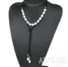 Simple Design White Screw Freshwater Rice Pearl Necklace with Black Cord