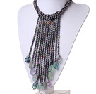 mutl strand white pearl and indian agate necklace