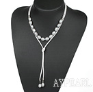 Wholesale Simple Design Gray Screw Freshwater Rice Pearl Necklace with White Cord