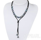 Simple Design Black Screw Freshwater Rice Pearl Necklace with Black Cord