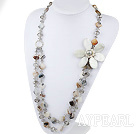 Wholesale Long Style Madagascar Agate and Crystal and Shell Flower Necklace